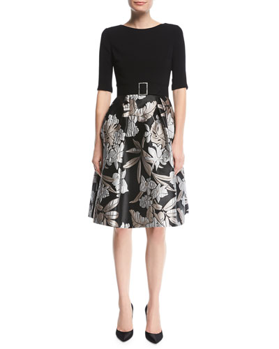 Crepe-Top Cocktail Dress w/ Floral Skirt