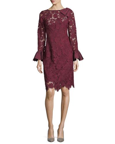 Lace Sheath Taffeta Bow-Shoulder Cocktail Dress