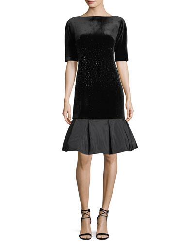 Beaded Velvet Elbow-Sleeve Cocktail Dress w/ Taffeta Flounce
