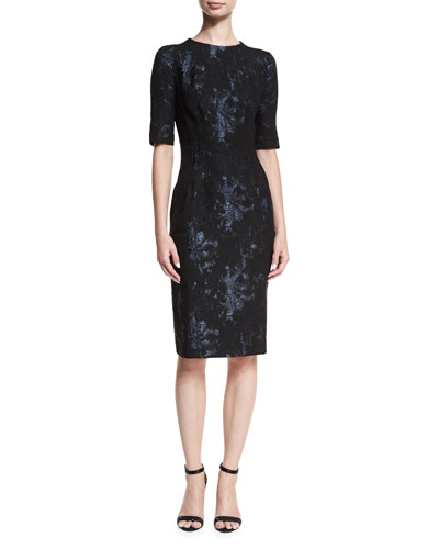 Elbow-Sleeve Stretch-Jacquard Midi Cocktail Dress