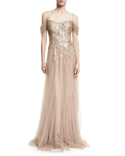 Sequin Lace Evening Gown w/ Tulle Overlay