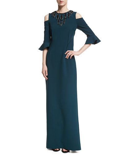 Stretch-Crepe Column Evening Gown w/ Beaded