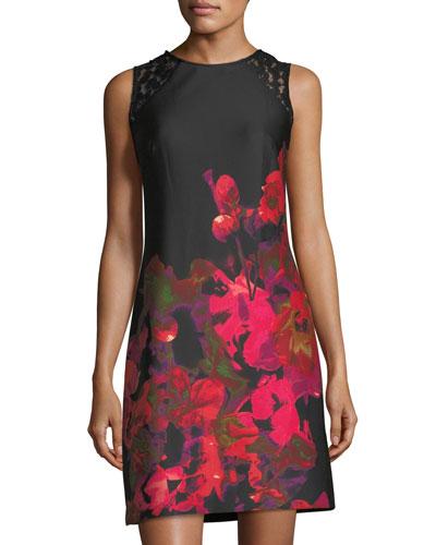 Lace-Panel Floral-Print Dress