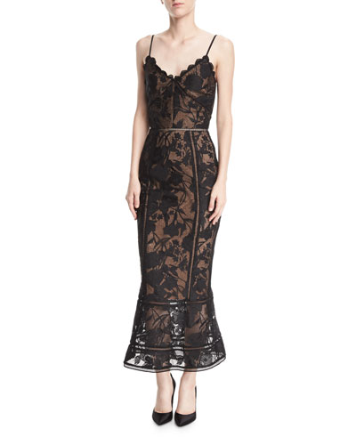 Guipure Lace Tea-Length Trumpet Cocktail Dress