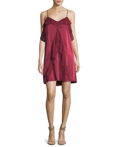 The Bibi Ruffled Sleeveless Slip Cocktail Dress
