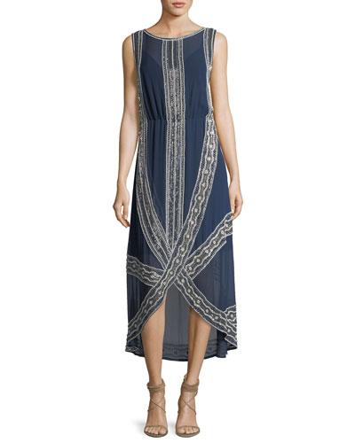 The Galore Sleeveless Chiffon Lace Beaded Cocktail Dress