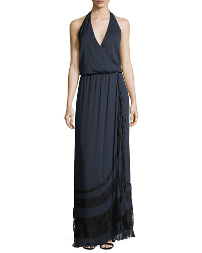 Johnny Guitar Sleeveless Halter Evening Gown w/ Lace
