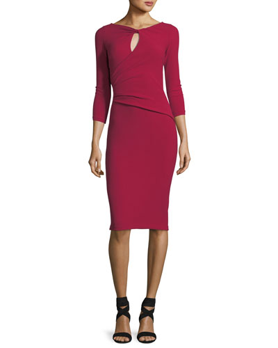 Kelcie Long-Sleeve Keyhole Wrap Cocktail Dress