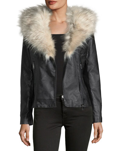 Faux-Leather Jacket w/ Faux-Fur Trim