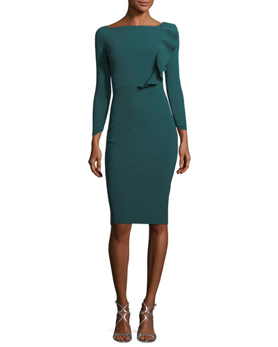 Avital Boat-Neck 3/4-Sleeve Cocktail Dress