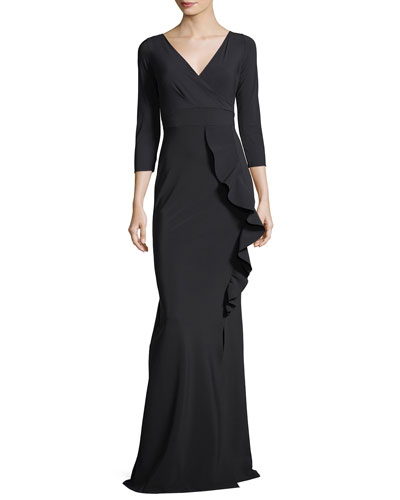 Marem Long 3/4-Sleeve Ruffled Jersey Evening Gown