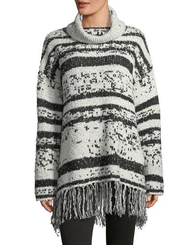 Fringed-Trim Cowl-Neck Sweater