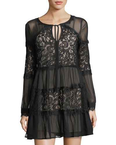 Long-Sleeve Lace-Inset Dress