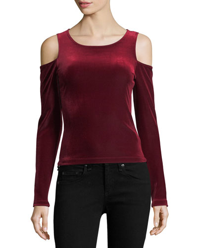 Cold-Shoulder Velvet Tee