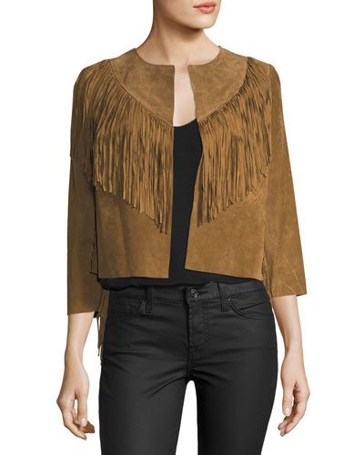 Fringed-Trim Cropped Suede Jacket