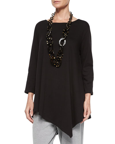 Solid Asymmetric Long Tunic, Plus Size