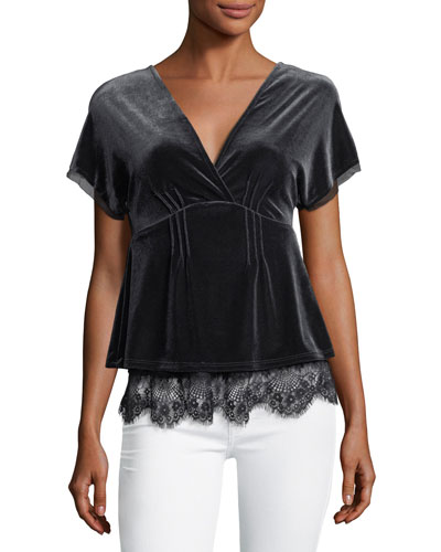V-Neck Lace-Trim Velvet Top