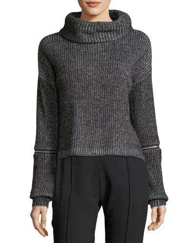Zip-Detail Crop Sweater