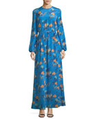 Long-Sleeve Crewneck Floor-length Silk Dress