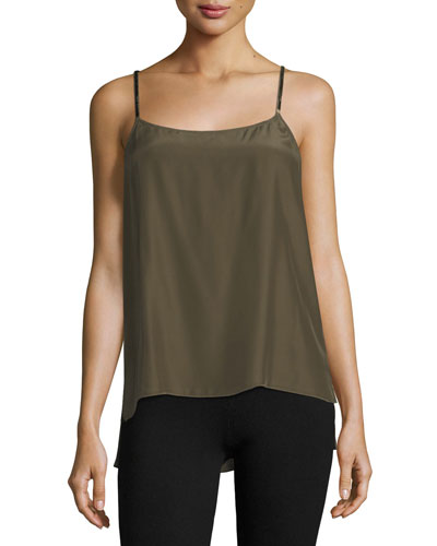 Scoop-Neck Satin Camisole w/ Velvet Straps