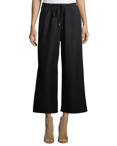 Boiled Wool Jersey Wide-Leg Cropped Pants, Petite
