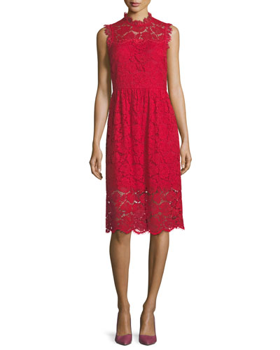 sleeveless poppy lace midi dress