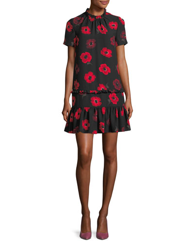 short-sleeve ruffled poppy floral shift dress