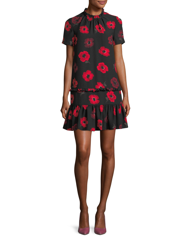 short-sleeve ruffled poppy floral shift dress