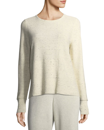 Peppered Organic Cotton/Wool Knit Top, Petite