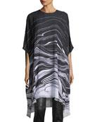 Brush Stroke Print Satin Dress