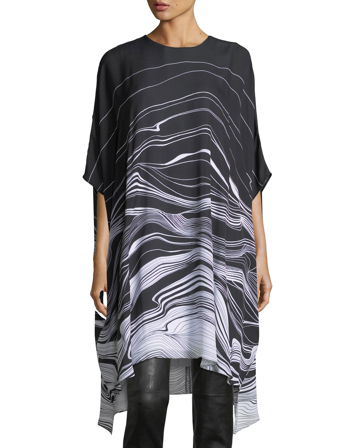 Brush Stroke Print Satin Dress