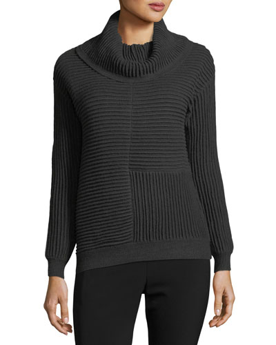 Cowl-Neck Ottoman-Knit Sweater