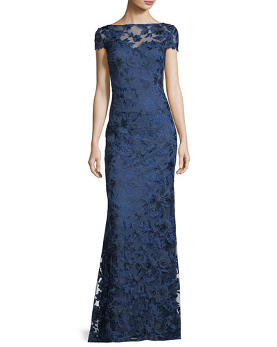 Cap-Sleeve Illusion Lace Evening Gown