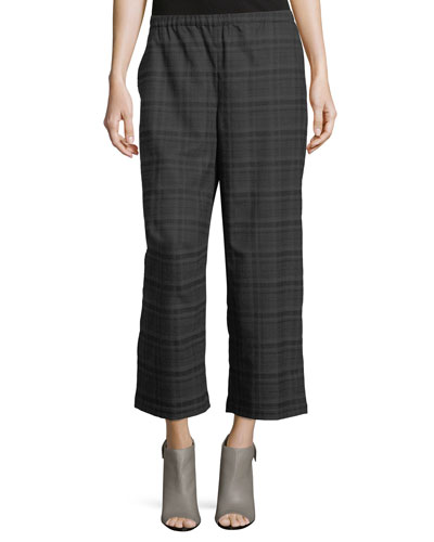 Heathered Stretch Flannel Plaid Cropped Wide-Leg Pants, Petite