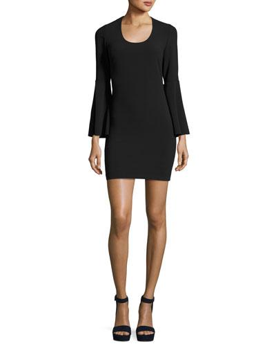 Philippa Scoop-Neck Bell-Sleeve Ponte Sheath Dress