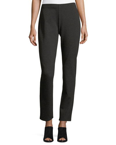 Melange Stretch-Ponte Slim Pants, Petite