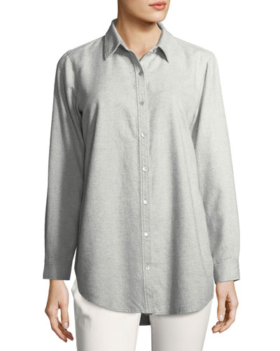 Organic Cotton Flannel Twill Boyfriend Shirt, Petite