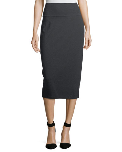 Cozy Stretch-Jersey Midi Pencil Skirt, Petite