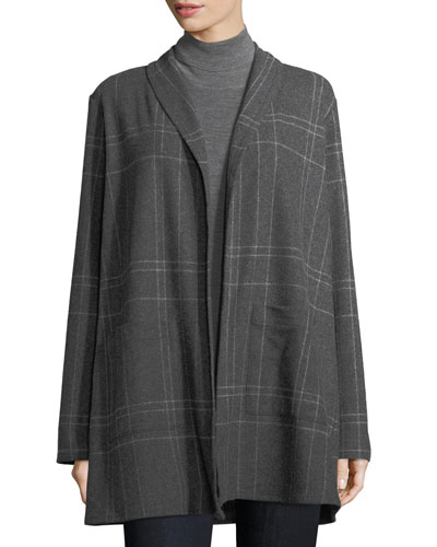 Windowpane Wool-Blend Flannel Kimono Jacket