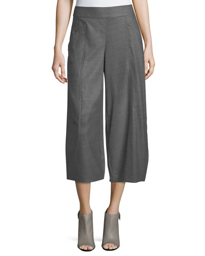 Heathered Stretch-Flannel Twill Cropped Pants, Plus Size