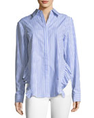 Gretchen Striped Asymmetric Poplin Shirt