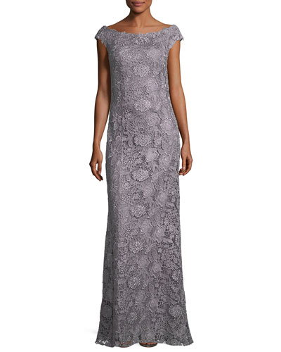 Bateau-Neck Cap-Sleeve Lace Evening Gown