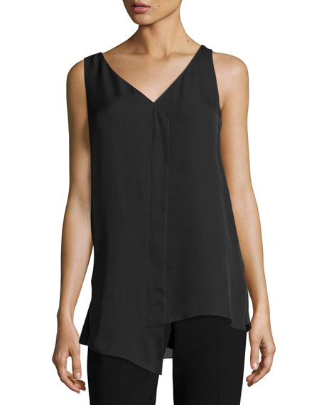 St. John Collection Satin Silk Georgette Draped Top