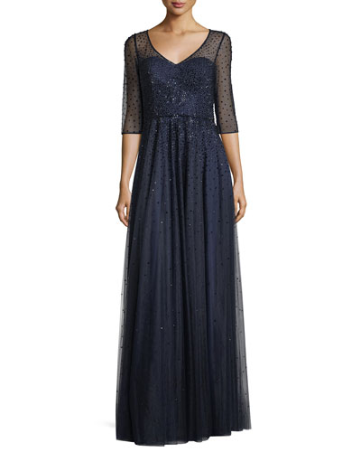 3/4-Sleeve Illusion Mesh Embellished Evening Gown