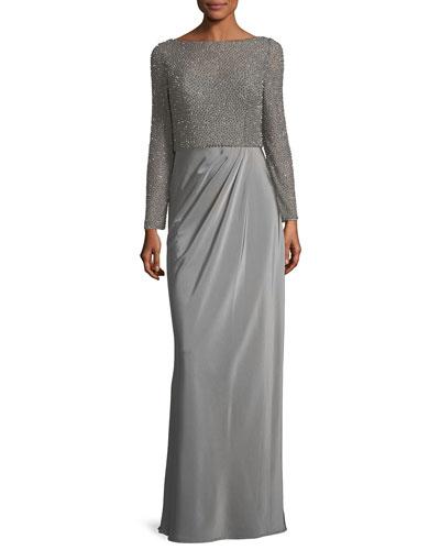 Long-Sleeve Beaded Mesh Column Evening Gown