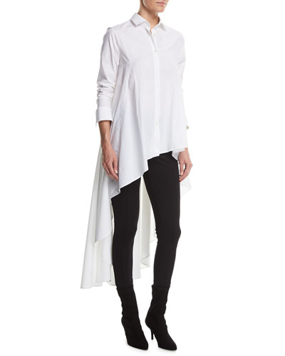 Long Button-Front Poplin Super Shirt