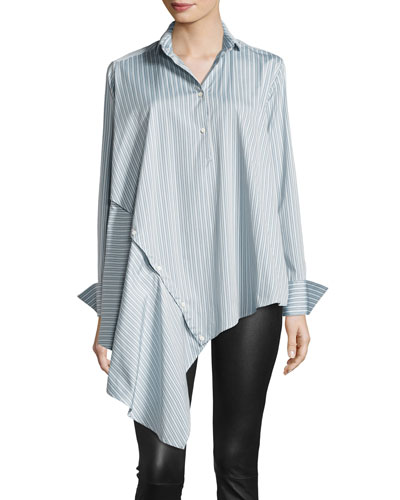 Spicy Striped Detachable Asymmetric Cotton Shirt