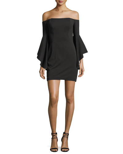Off-the-Shoulder Flounce-Sleeve Cocktail Dress