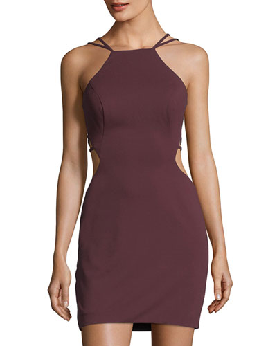 Halter Sleeveless Strappy-Back Mini Cocktail Dress