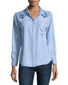 Ingrid Button-Front Long-Sleeve Denim Shirt w/ Embroidery
